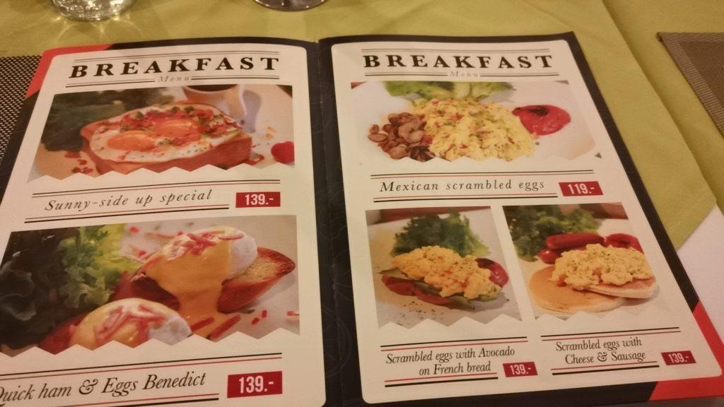 カフェの朝食メニュー